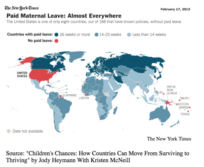 Paid Maternity Leave Worldwide Map-U.S Has No Paid Maternity Leave .png